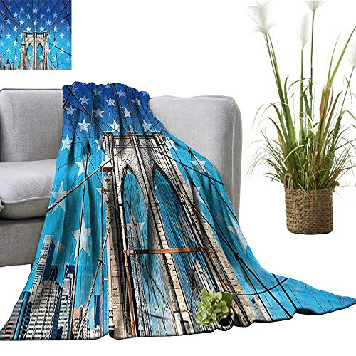 (YOYI Polyester Blanket Bridge Stars Home The Empire Stat Building Tim Square and Other Sit Cozy and Durable)