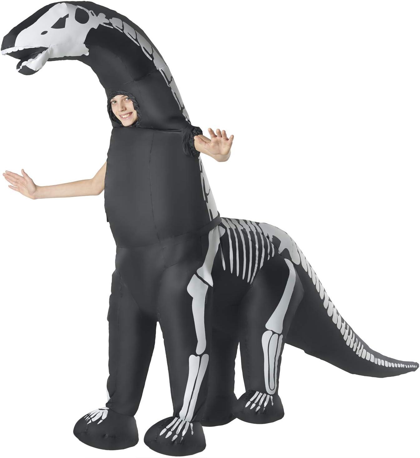 Opblaasbaar kostuum Unisex, Diplofiteks skelet, eenheidsmaat kinderen