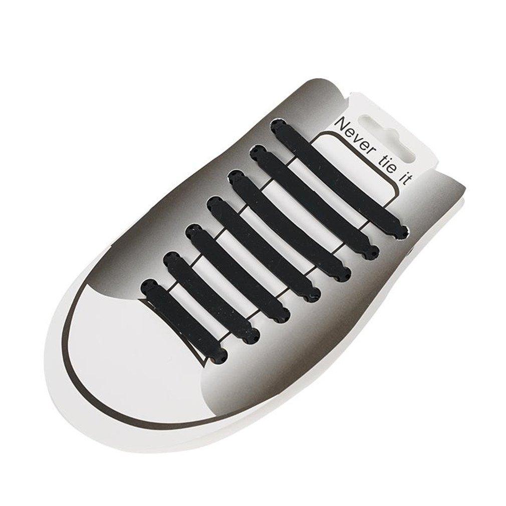 14 Pcs/Lot No Tie Black White Elastic Shoelaces Silicone Shoe Lace