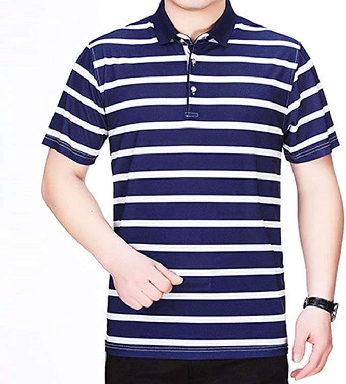 EVEDESIGN Mens Fashion Stripe Polo T-Shirts Casual Short Sleeve Athletic Jersey Shirt