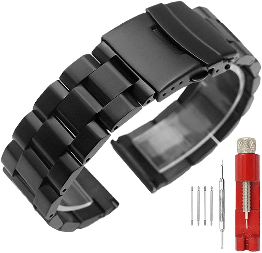 Solid Double Locks Stainless Steel Watch Band Strap, Brushed Finish Watch Replacement Metal Bracelet for Men Women 18mm 20mm 22mm 24mm,Black Silver