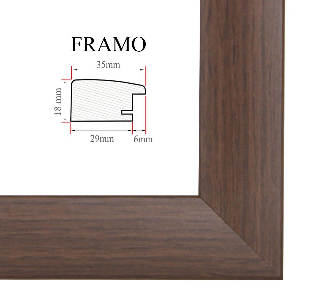 dimensions ext/é FRAMO 35mm Cadre photo sur mesure pour photos de 85 x 10 cm cadre fait main en MDF dot/é d/'un verre synth/étique antireflet incassable et d/'un fond r/ésistant couleur : Wenge largeur du cadre : 35 mm
