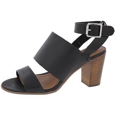 Steve Madden Nolea Women's 8B Black Leather Ankle Strap Heeled Sandal