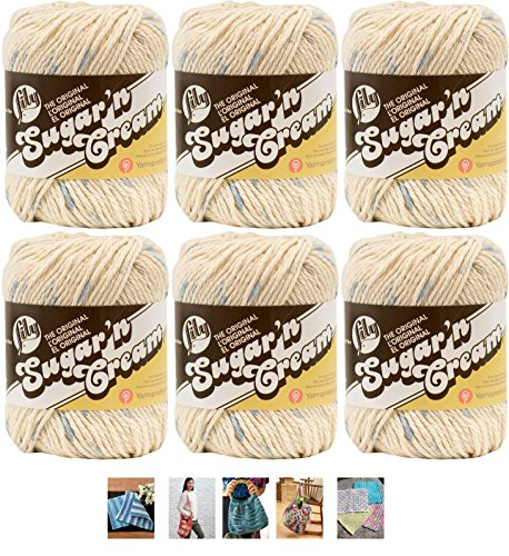Ecru Print (Bulk Buy: Lily Sugar'n Cream Yarn 100% Cotton Solids and Ombres (6-Pack) Medium #4 Worsted plus 5 Lily Patterns (Denim Blue Prints 00192))