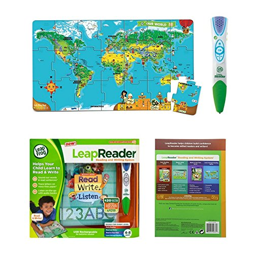 Leapfrog leapreader reading and writing system green and leapreader leapfrog leapreader reading and writing system green and leapreader interactive world map puzzle bundle for kids gumiabroncs Images