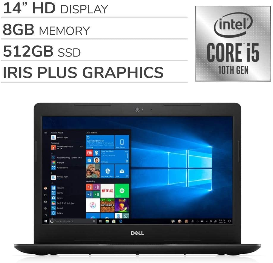 "Dell Inspiron 2020 Premium 14"" HD Laptop Notebook Computer, 4-Core 10th Gen Intel Core i5-1035G4 up to 3.7 GHz, Iris Plus Graphics, 8GB RAM, 512GB SSD, No DVD,Webcam,Bluetooth,Wi-Fi,HDMI,Windows 10"