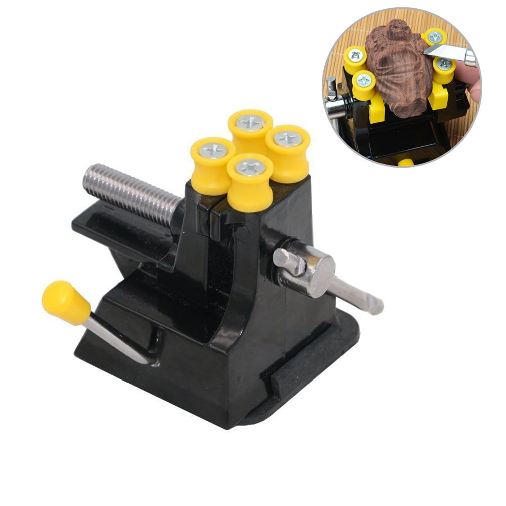 Eyech Mini Suction Bench Vise Adjustable Walnut Clamp Small Tabletop DIY Vise Drill Press Vice for Watch Jewelry Craft Model Jade Repair Carving Tool