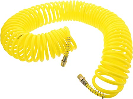 """Polyurethane Recoil Hoses 10x6.5mm tube 1//4/"""" BSPT Swivel Male Ends Spring Guards"""