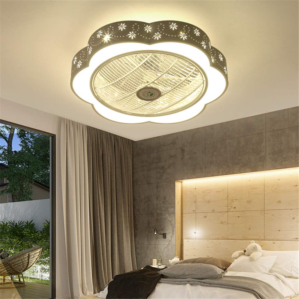 JINWELL LED Fan Ceiling Fan with Lighting and Remote Control Silent Ceiling Fan LED Ceiling Light Bedroom Living Room Nursery Lighting Decorative Study Dimming Lighting Decorative Ceiling lamp,B