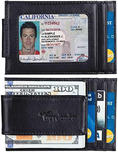 Travelambo Magnetic Money Clip Front Pocket Wallet Slim Minimalist Wallet RFID Blocking