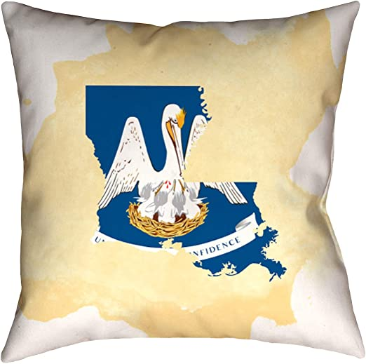 ArtVerse Katelyn Smith 14 x 14 Spun Polyester Louisiana Watercolor Pillow