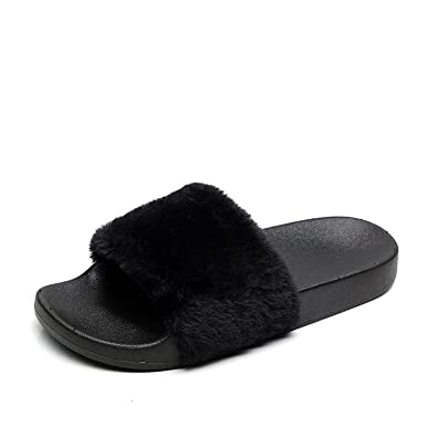641f822fac99a Amazon.com | APIKA Women's Flip Flop Faux Fur Slipper Fuzzy Fluffy Comfy  Sliders Open Toe Slip on | Slippers