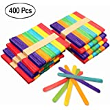 Colorful Popsicle Sticks Natural Wooden Craft 400Pcs Bright Assorted Color 4.5 inch Jumbo Craft Sticks for DIY Craft Creative Designs