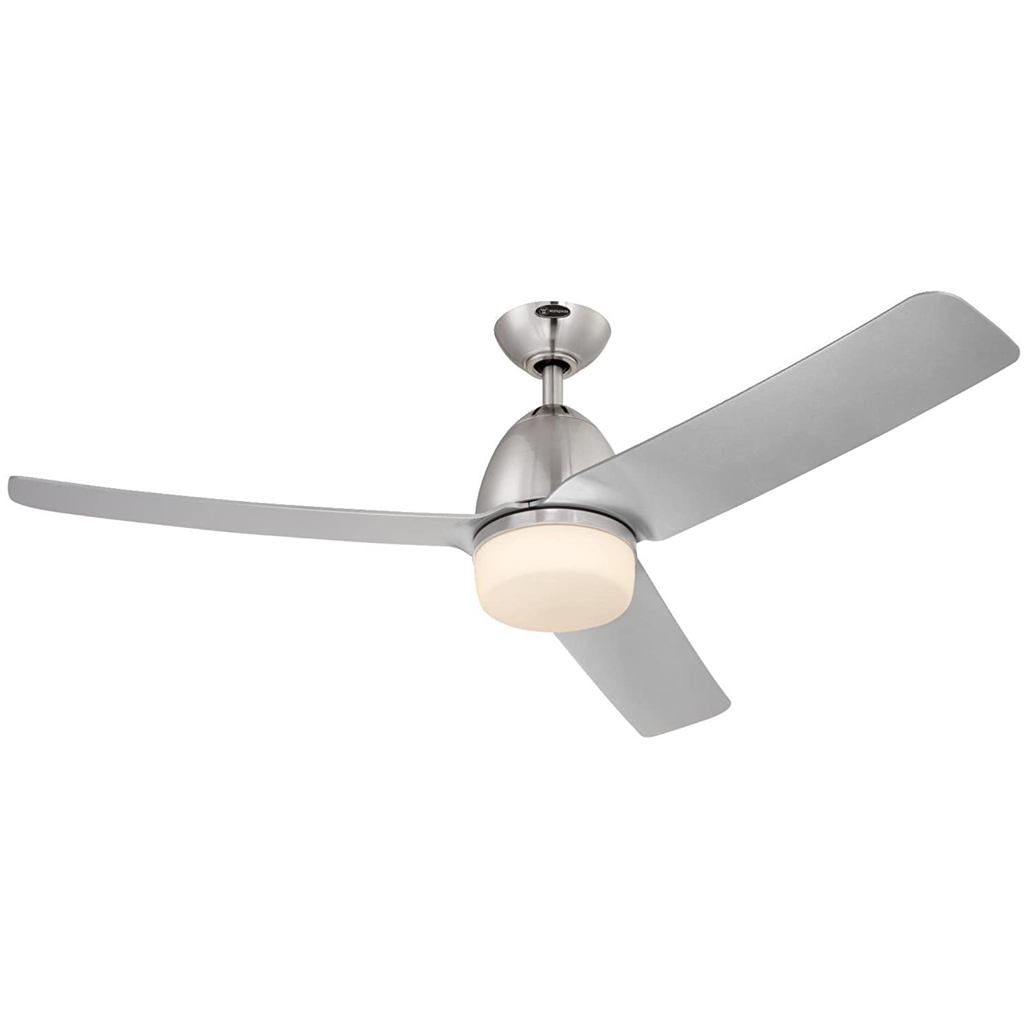Westinghouse 7800100 Delancey Two-Light Three-Blade Indoor DC Motor Ceiling Fan with Opal Frosted Glass, 52-Inch, Brushed Chrome Finish - - Amazon.com