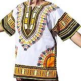 Raan Pah Muang RaanPahMuang Brand Unisex Bright White Cotton Africa Dashiki Shirt Plain Front, X-Large, White Yellow