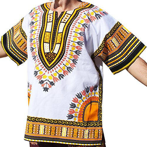 Raan Pah Muang RaanPahMuang Brand Unisex Bright White Cotton Africa Dashiki Shirt Plain Front, X-Large, White Yellow by Raan Pah Muang