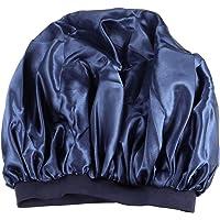 Solustre Elastic Satin Nightcap Solid Color Sleep Cap Bonnet Hat for Women Lady Salon (Navy)