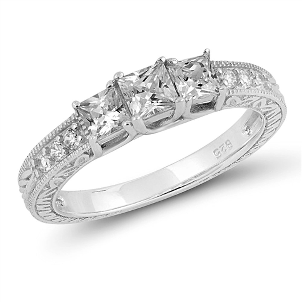 Clear CZ Wedding Bridal Engagement Ring New .925 Sterling Silver Band Size 9