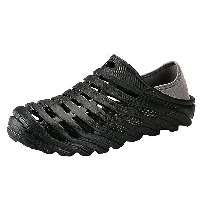 18be26783 Garden Shoes Men s Ultralight Hollow Summer Aqua Breathable Comfort Slippers  Outdoor Unisex Water Shoes Black 40