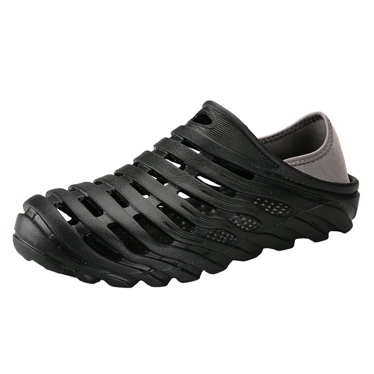 RARKOR Garden Shoes Men's Ultralight Hollow Summer Aqua Breathable Comfort Slippers Outdoor Unisex Water Shoes Black 45
