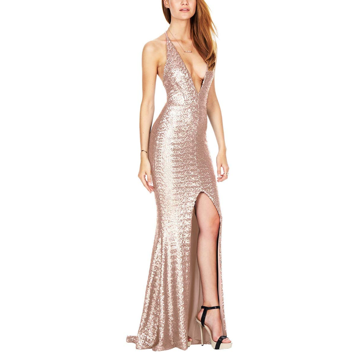 c7064de20a7b Sequins Bodycon Mermaid V Neck Split Strappy Backless Evening Party Maxi  Dress at Amazon Women's Clothing store: