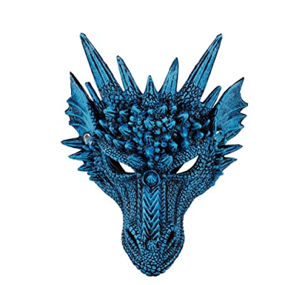 Peyan 3D Soft Half Mask Dragon Cosplay Mask Costume - for Kids Teens Halloween Masquerade Party Mardi Gras 11.81x 8.26 inch Blue: Clothing