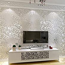 Fashine Non-Woven 3D Print Embossed Textured Bricks Wallpaper for Home Kitchen Office (Silver)