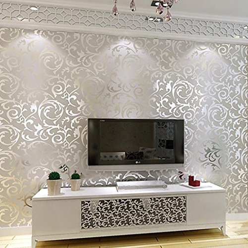 3D Non-Woven Wallpaper Roll, Damask Luxury Textured Pattern Home Wallpaper Wave Flocking Rolls Background Wallpaper Silver and Gold (Silver) ()