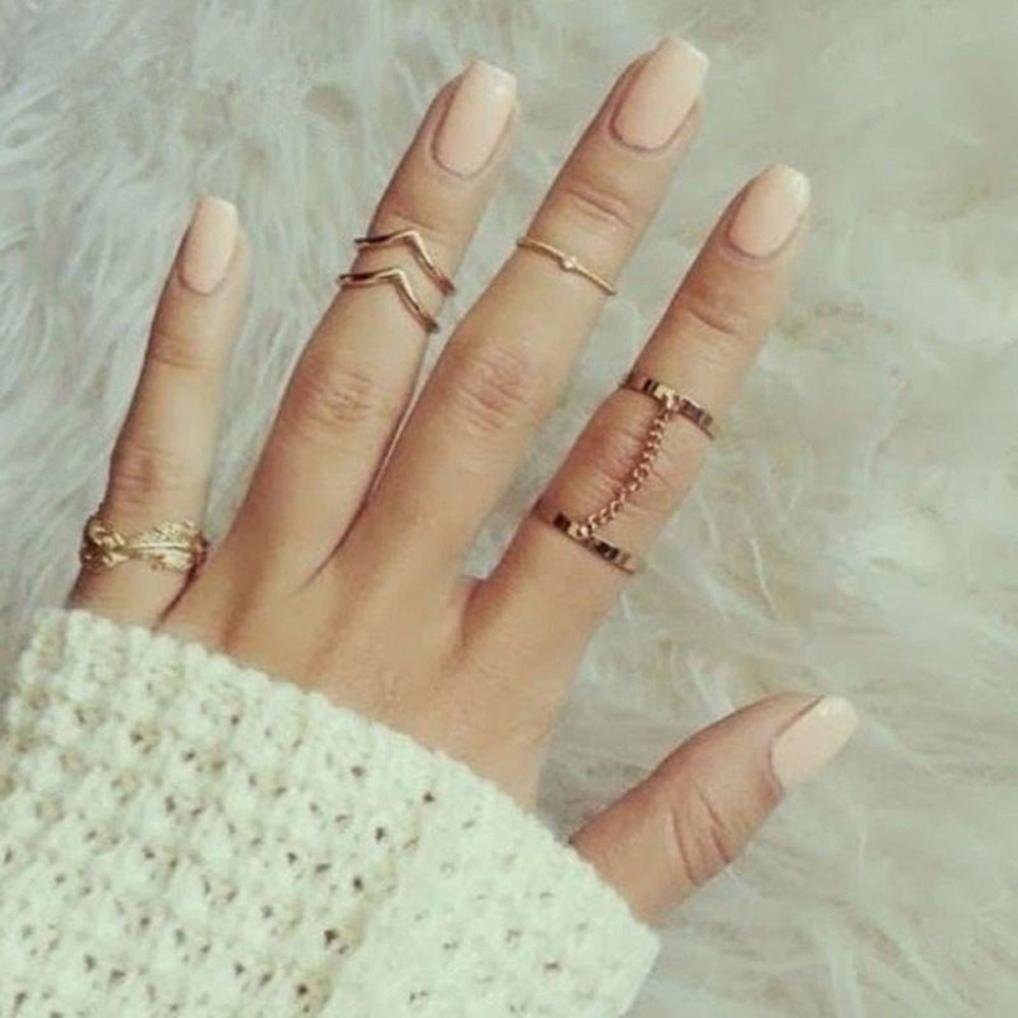 Wensltd Clearance! 6pcs / Set Gold Urban Rings Crystal Above Knuckle stacking Band Midi Mid Ring (Gold)