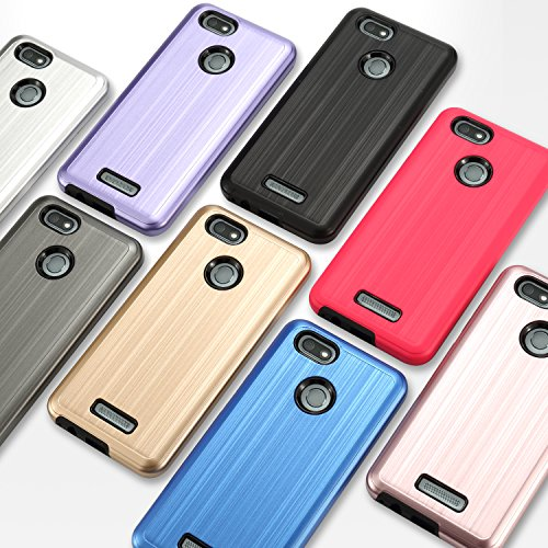 BLU Vivo XL3 case, (V0250WW) 5.5 inch case, [ New Frontier Wireless], Tough Hybrid + Dual Layer Shockproof Drop Protection Metallic Brushed Case Cover for BLU Vivo XL3 case (VGC Hot Pink) by NewFrontier (Image #5)