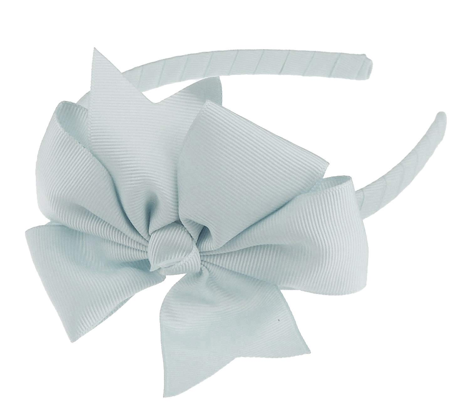 Glamour Girlz Girls Party School Large Grosgrain Ribbon Bow 1cm Headband Alice Band Forked Green