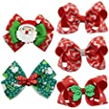QtGirl 4-8 PCS Mixed Christmas Hair Bows Clips For Baby Girls Teens Festival Hair Accessories Barrettes
