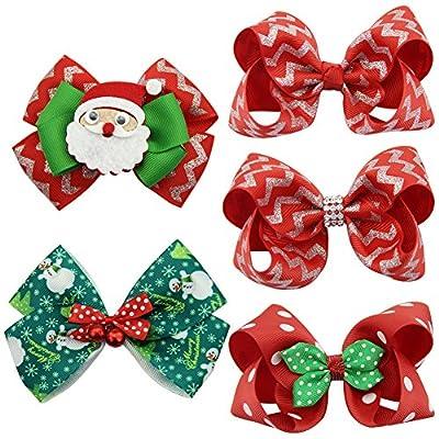 QtGirl 4-8 PCS Mixed Christmas Hair Bows Clips For Baby Girls Teens Festival Hair Accessories Barrettes