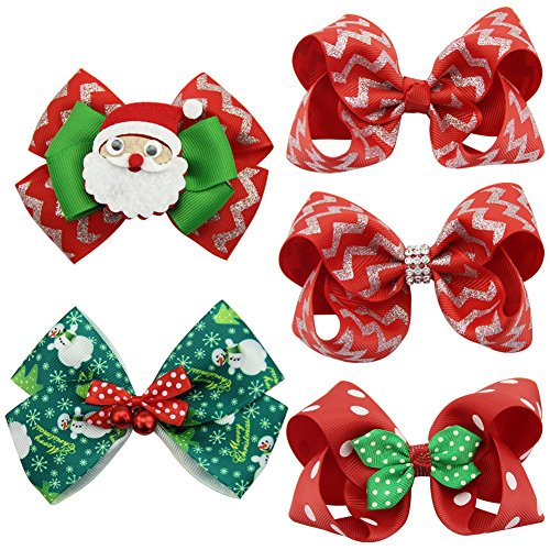 Costumes For 5 People Group (QtGirl 5 PCS Mixed Christmas Hair Bows Clips For Baby Girls Teens Festival Hair Accessories Barrettes)