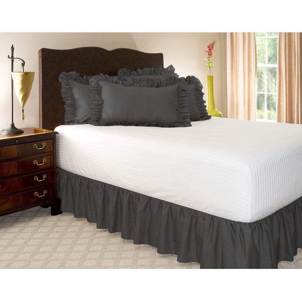 Dust Ruffles Easy Fit Wrinkle And Fade Resistant Silky Luxrious Fabric Solid Color 15 Inches Drop-black-T//FULL-120 HUANXA Elastic Wrap Around Bed Skirts 200Cm