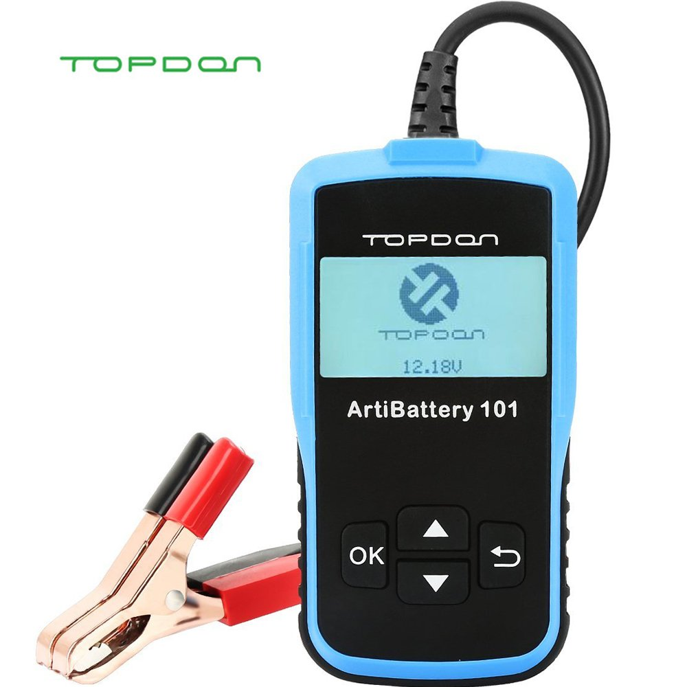 Car Battery Tester, Topdon ArtiBattery101 12V 100-2000 CCA Automotive Analyzer-Cranking Test, Charging Test and Battery Test for Battery System (1-3 Days Delivery Time) (Black)