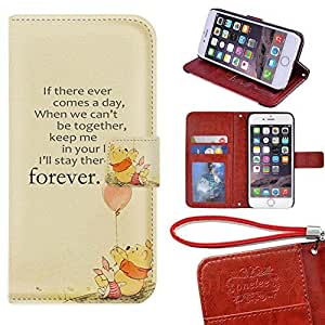 """iPhone 6S Plus Wallet Case - TwoDee Disney Winnie the Pooh Premium PU Leather Case Wallet Flip Stand 5.5"""" Case Cover for iPhone 6S Plus with Card Slots"""