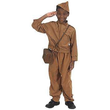 WWII - Disfraz de soldado de la segunda guerra mundial para niño, talla 9 -