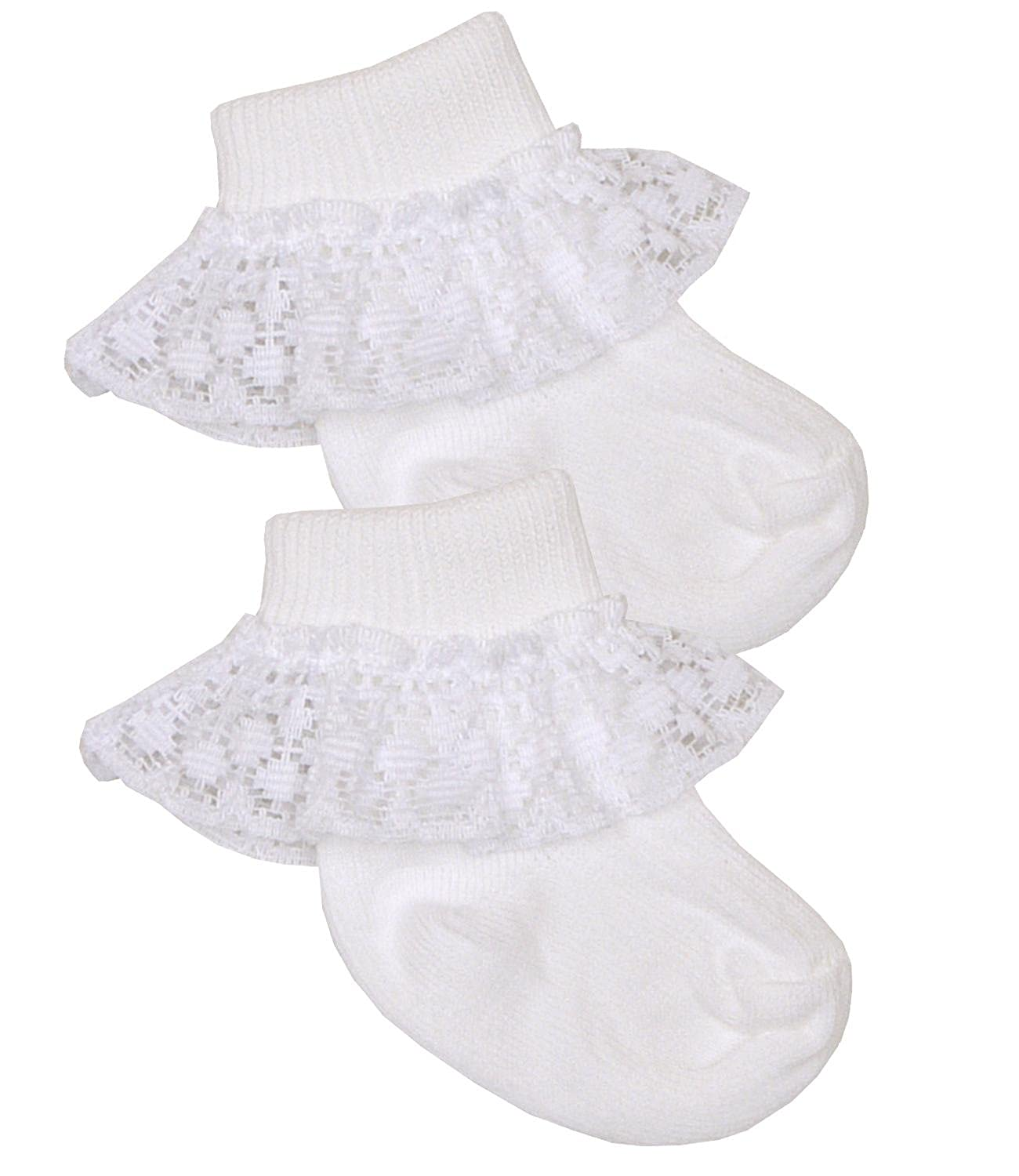 Amazon BabyPrem Premature Baby Frilly Lace Socks White Pink 3