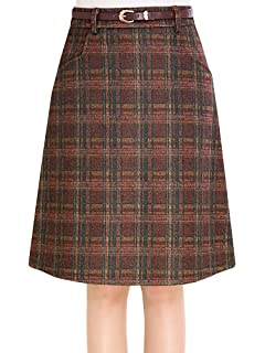 1e1aac61be Women's Vintage Plaid A-Line Wool Blend Strecthy Office Midi Pencil Skirt  with Pockets