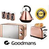 Copper Microwave 20L, Diamond Kettle 1.8L, 2 Slice Toaster & 3 Canisters set