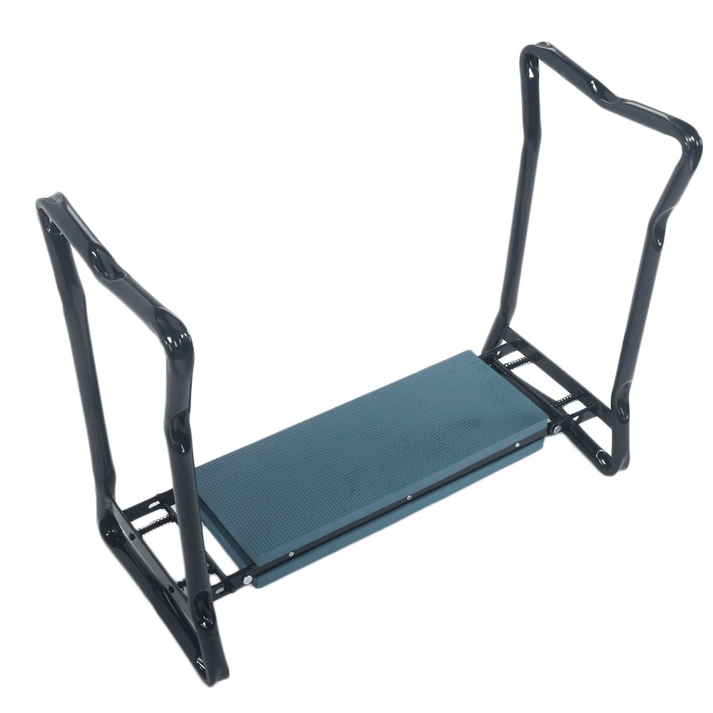 Crazyworld Folding Garden Kneeling Stool Bench with Thick Seat Pad,Hold 350lbs For House Cleaning and Garden Workers,EVA Foam and Heavy Sturdy Metal Protect kneels,(15.35 x 6.38 x 18.9) Green&Black.
