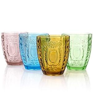 Drinking Glasses 4Pcs, Colored Premium Heavy Glassware, 12oz Multicolor Glass Tumbler Gift for