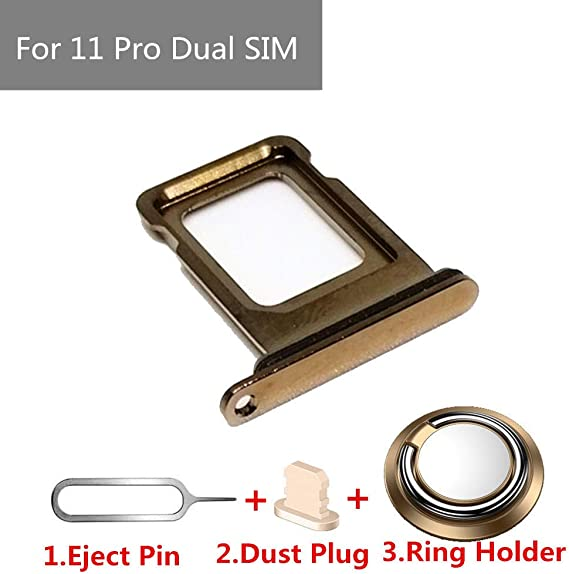 Real 11 Pro Single//Dual SIM Card Tray Slot Holder Adapter with Rubber Waterproof Gasket Ring for iPhone 11 Pro 11Pro Camera Glass Case 11Pro Green, Dual SIM Edition Eject Pin