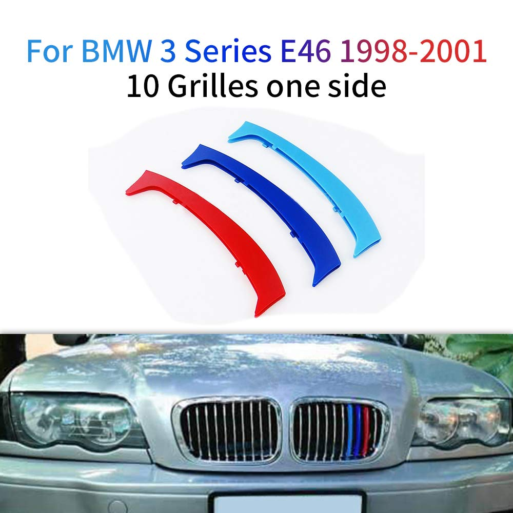 For BMW 3 Series E92 E93 318i 320i 325i 328i 330i 335i 320d 325d 2006-2009 M Color Front Grille Grill Cover Insert Trim Clips 3Pcs 14 Grilles