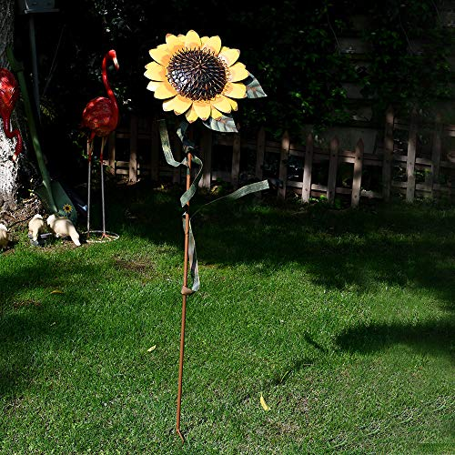 Morning View Sunflower Stake Yard Garden Decor Metal Flower Outdoor Lawn Decorative Yard Decoration (48