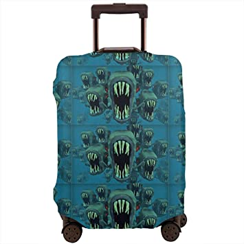 Turquoise Marble Blue Travel Suitcase Protector Zipper Suitcase Cover Elastic