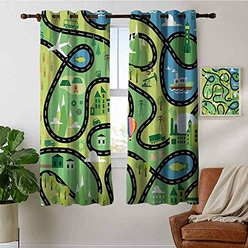 petpany Window Curtains Boys,Aerial View of Coastal Suburbs with Roads Cartoon Style Hot Air Balloon Windmill,Multicolor,Tie Up Window Drapes Living Room 42