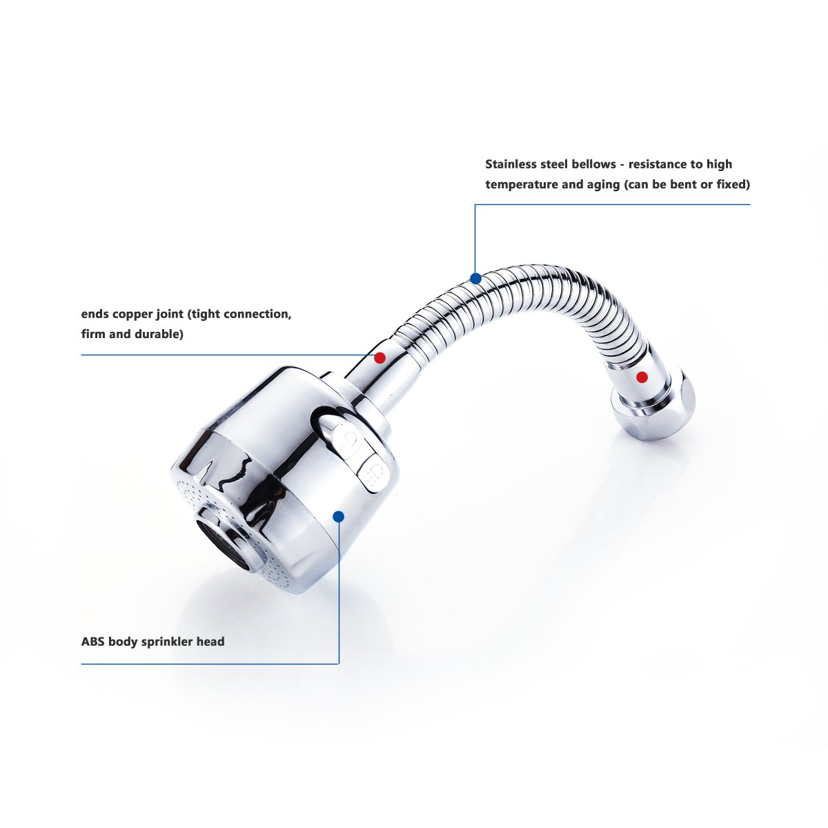 Kitchen Faucet Sprayer 360 Degrees Swivel, for Kitchen Sinks Sprayer Replacement Attachment, Laundry Sink Sprayer,Suitable for 22mm/24mm thread interface of circular faucet by DEWALTS (Image #5)
