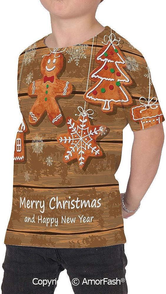 PUTIEN Gingerbread Man Girls Short-Sleeve Midweight T-Shirt,Polyester,Funny Watercolor